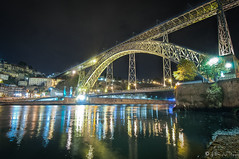 Porto-Ponte Luis-Night (NoSound Photography) Tags: nousoundphotography night porto portugal ponteluisi nightshot longexposure nikon d90 landscape travel history architecture eiffel reflection river water light poselongue color dreamscape voyage flickrunitedaward