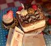 Chocolate Square Cake (tygertyger2020) Tags: miniature dessert square cake glaze mirror feathering chocolate truffle bonbon sweet craft polymer clay mini minifood bakery raspberry meringue frosting