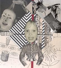 the positive side of myself : easily amused (kurberry) Tags: cutandpaste analogue collage selfportrait blackwhite vintageephemera