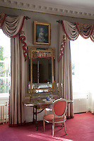 JF_EC8_83 (brynnjour) Tags: bedroom blue candelabra carpet chair colour cornice countryhouse curtain curtainelement curtainfringe curtainpole decoration desk flooring fringed gilded groupofpeople heating indoors interior mirror nobody objects painting paleblue pink portraitpainting radiator seating softfurnishing swag wall white window cambridgeshire england