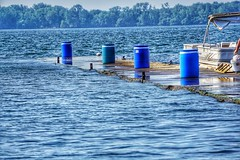 "Heavy rainfall shows how water levels can go up anywhere, this pier in Presque Isle Bay is normally 14""    above lake levels, now even in calm water it's being over washed. (dalesins) Tags: global warming presque isle bay high water blue state park sony a6000 snapseed"