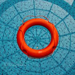 Life-aid (rhfo2o - rick hathaway photography) Tags: rhfo2o canon canoneos7d thassos thassossentidoimperialhotel pachisbeach swimmingpool lifeaid blue orange reflections minimal square