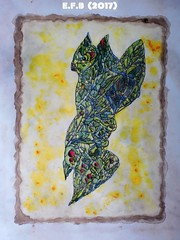 avem (nostromus22) Tags: bird acrylic draw pencil fragmented yallow coffee green surreal art painting drawing intrincate