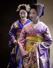 Mamesumi-san and Mitsuki-san (Explored) (Rekishi no Tabi) Tags: mamesumi mitsuki maiko apprenticegeiko apprenticegeisha geisha geiko kyoto gion gionkobu leica japan flickrexplore