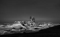 Chock-a-Ice (TS446Photo) Tags: iceland mono monochrome black white ice lagoon cold landscape travel nikon zeiss fog