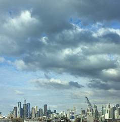 Melbourne skyline (Marian Pollock (Weiler)) Tags: australia melbourne victoria skyline skyscrapers clouds overcast sky cranes