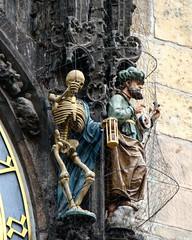 Prague, city hall - towerclock. (jacek_szacho-głuchowicz) Tags: cityhall towerclock sculpture oldclock oldtown praha prague skeleton astronomicalclock czechrepublic czech