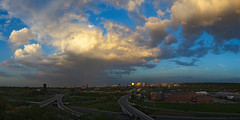 Optimistic Storm Clouds (Umer Javed) Tags: hamilton ontario panorama stitched hugin clouds thunderstorm cityscape landscape inspirational canada canon t3i f71 city urban buildings cans2s hfg explore