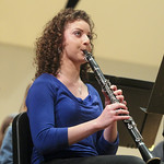 Student playing the clarinet.