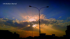 Sky As A Canvas (M.RISHAN SHAREEF) Tags: nature native earth blue black building culture cloud yellow thenature enjoy sky lighting light morning evening night orange qatar sun street