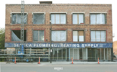 Seneca Plumbing And Heating (_mndgmes) Tags: city cityscape downtown abandoned old urban urbandecay exploration decay worn wear tear buffalo ny new york buildings lost daylight canon5d 2470mm sunset warm spring loca store front plumbing business local heating