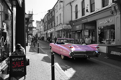 The Wanderer (Lewis_Hurley) Tags: convertible england uk retro american classic pink colourpop blackandwhite bw colour vehicle car town falmouth edit