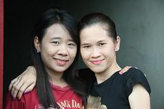 pretty fair-skinned ladies (the foreign photographer - ฝรั่งถ่) Tags: two pretty ladies arm around shoulder fair skinned khlong thanon portraits bangkhen bangkok thailand canon kiss
