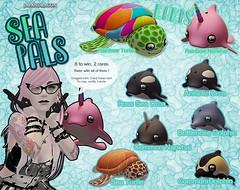 Sea Pals Gacha (Chubby Kirin) Tags: secondlife sl gacha ambix sea pals orca dolphin narwal turtle