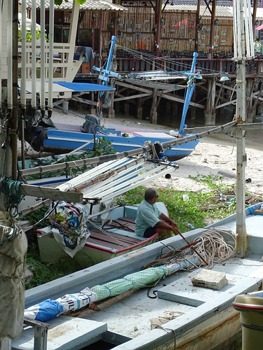 Man with Fishing Boats - Hua Hin - Thailand