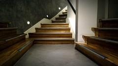 Quo vadis? (pix-4-2-day) Tags: stairs steps staircase junction kreuzung treppe treppenhaus aufgang flur corridor wood holz lamps lampen geländer handrail
