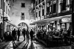Bratislava; Old Town (drasphotography) Tags: bratislava presburg pressburg slovakia monochrome monochromatic monotone blackandwhite bw schwarzweis bianconero nightshot nachtaufnahme nikkor2470mmf28 d810 sw travel travelphotography reise reisefotografie drasphotography michaels gate michaelertor silhouette altstadt nightlife people city cityscape street streetphotography