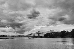 Outerbridge Crossing (paleyphotos) Tags: newyork new york nyc ny bridge staten island jersey nj arthur kill outerbridge crossing statenisland bw blackandwhite black white architecture water sky clouds storm