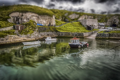 Ballintoy Harbour (Trevor Bowling) Tags: ballintoy tiltshift hdr boat harbour marina reflection miniature gameofthrones greyjoy ironislands nikkor