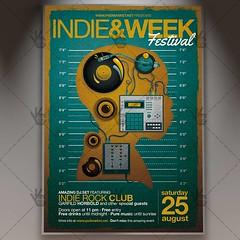 Indie Week Festival - Premium Flyer PSD Template (psdmarket) Tags: band fest festival gig grunge indie indiefest indieground music psd retro underground vintage vinyl