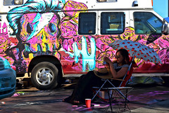 Got It Made In The Shade (Art By Pem Photography: Tao Of The Wandering Eye) Tags: fineartphotography canon canoneosrebelsl1 eos sl1 eoshe sixwordstory 6ws woman art mural spraypaint van candid color colour colors colours usa streetphotography street citylife whimsical