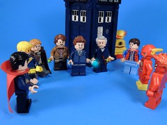 A Time Traveler Convention (MrKjito) Tags: lego minifig cross over time travler convention doctor who marvel dc comics comic back future steven strange boost gold rip hunter 11 12 10 reverse flash marty mcfly wally west barry allen tardis