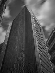 Ropemaker Street (Mike Hewson) Tags: london city cityoflondon clouds streetsoflondon skyscraper architecture bw blackandwhite blackwhite monochrome micro43 microfourthirds mirrorless panasonic lumix gx8 longexposure 10stopfilter nd1000 ndfilter