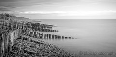 Stone Defences (PKpics1) Tags: stones pebbles sea seascape blackwhite bw sky wood posts beach shingle