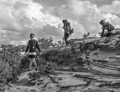 over the cliff (Mariasme) Tags: three windy youth coogee monochrome blackandwhite game