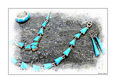 A Holiday Gift (paulinecurrey) Tags: smileonsaturday jewels necklace ring blue canon digital holiday gift present stone rock outdoor chain tunisia earrings silver blur contrast turquoise jewellery