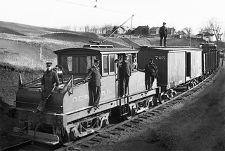 Oneonta, Copperstown & Richfield Springs Railway, steeple cab locomotive # 100, and an Extra mixed train, along with posed crew, 1904