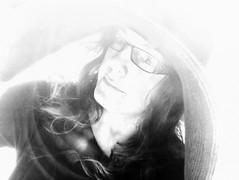 bright (MacroMarcie) Tags: bright monochrome blackandwhite self selfie 365 project365 hat glasses woman portrait grain iphone7 iphone7plus