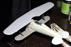 """1:72 Gloster Glaive Mk. I, """"Δ 183"""" of the Hellenic Air Force's 22 Mira Dioxeos, Ioannina (Epirus region), March 1941 (Whif/Kitbashing) - WiP (dizzyfugu) Tags: gloster gladiator glaive biplane raf export greece hellenic air force fictional aviation whif whatif model kit modellbau dizzyfugu conversion kitbashing sbc curtiss i153 spats mira dioxeos 22 ioannina epirus germany invasion world war 2 wwii peregrine engine"""