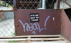 It's ok not to think (Exile on Ontario St) Tags: its ok think okay sticker stickerart message ruelle alley alleyway montreal mileend tag tagging write heal point exclamation mark stickers collants autocollants autocollant collant mile end montréal stairs staircase graffiti streetart urban street art urbain alleys alleyways ruelles