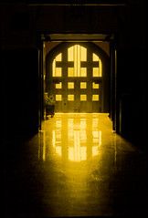 Through the Door IMG_9242 (ForestPath) Tags: hss happysliderssunday door school theater usedtobethedoortothechurch butnowitistheoldgym afternoon light glow woodenfloor topazrestyle