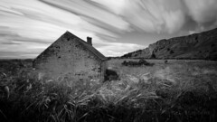 Abandoned bothy (M2186209 E-M1ii 9mm iso200 f8 1s) (Mel Stephens) Tags: 20170618 201706 2017 q2 st cyrus aberdeenshire scotland uk widescreen structure bothy abandoned building derelict coast coastal bw black white silver efex live composite le long exposure landscape nd tripod 43 fourthirds zuiko 918mm mmf3 olympus omd em1ii ii m43 microfourthirds mirrorless best explore explored mft june geotagged