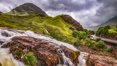 The falls of natural beauty ....Glencoe (Einir Wyn Leigh) Tags: landscape mountains hill waterfall river glencoe scotland light foliage leaf rapids road glen storm rain june summer climate rugged nature natural rocks hiking walking beauty love happy blue clouds mist