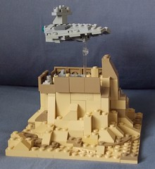 Star Destroyer over Jedha (Evan Ridpath) Tags: lego starwars jedha rogueone stardestroyer moc mini scale micro planet space spaceship fbtb legoland california starwarsdays jynerso darthvader xwing starfighter city vignette