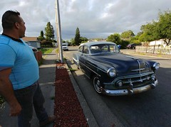 The New, Old Ride (RZ68) Tags: 1953 chevrolet chevy bel air 4 door car classic old vintage blue white man admiring his ride lg g6 cameraphone android smart phone street san francisco bay area happy dude