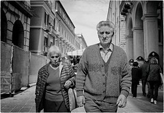 Untitled (Steve Lundqvist) Tags: italiano street fujifilm x100s streetphotography shot old elderly woman vecchi monocromo persone people soul monochrome archi arco candid path sidewalk abruzzo aged age vecchio vecchiaia teramo italy italia povertà poverty bw blackandwhite snap eyecontact partnership partners marriage