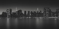 East River Twilight (Vesa Pihanurmi) Tags: manhattan midtown skyline eastriver night dusk architecture skyscrapers longexposure monochrome blackandwhite newyork nyc