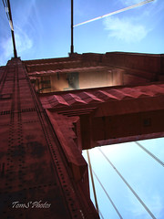 Art D. (Tom Slate) Tags: goldengatebridge artdeco sanfrancisco california abstract askew pointofview perspective orange sunrays sunburst sunbeam sky red metal architecture bridge suspensionbridge light northerncalifornia