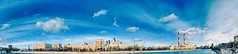 Moscow river sunny panorama (NO PHOTOGRAPHER) Tags: hochhaus gebäude cityscape skyline detail blackandwhite monochrome building outdoor architecture iphoneography iphonephotography exterier urban blue skycraper iphone 6s москва россия архитектура строительство река panorama panoramatic