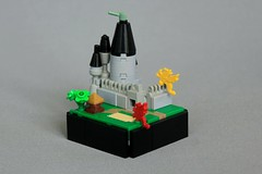 Feather Dragon Attack on Plume Keep! (jsnyder002) Tags: lego creation moc vignette dragon attack castle keep tower wall design technique battlements landscape tree house medieval