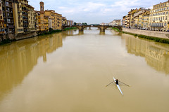Rowing through Florence (-Dons) Tags: florence italy firenze river skull rowing water reflection