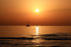 Sailing in a golden sea - Tel-Aviv beach (Lior. L) Tags: sailinginagoldenseatelavivbeach sailing golden sea telaviv beach goldensea goldenhour nature travel travelinisrael israel telavivbeach silhouettes reflections sailboats serenity