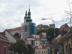 Rooftops and towers, St. Wenceslas Church and chateau, Mikulov, Czechia (Paul McClure DC) Tags: mikulov nikolsburg moravia morava czechia czechrepublic historic architecture aug2016 church jihomoravskýkraj břeclav