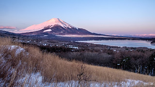 Mt. Fuji and Lake Yamanaka at sunrise