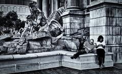 Statues (evanffitzer) Tags: lasvegas bw blackandwhite mono monochrome statues art granite evanfitzer evanffitzer photography photographer cell text street tourists indifferent fujix100s fujifilmx100s