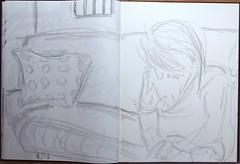 wo wir angekommen waren und wo wir zuhause sind (raumoberbayern) Tags: sketchbook skizzenbuch sketch robbbilder sofa france frankreich handy
